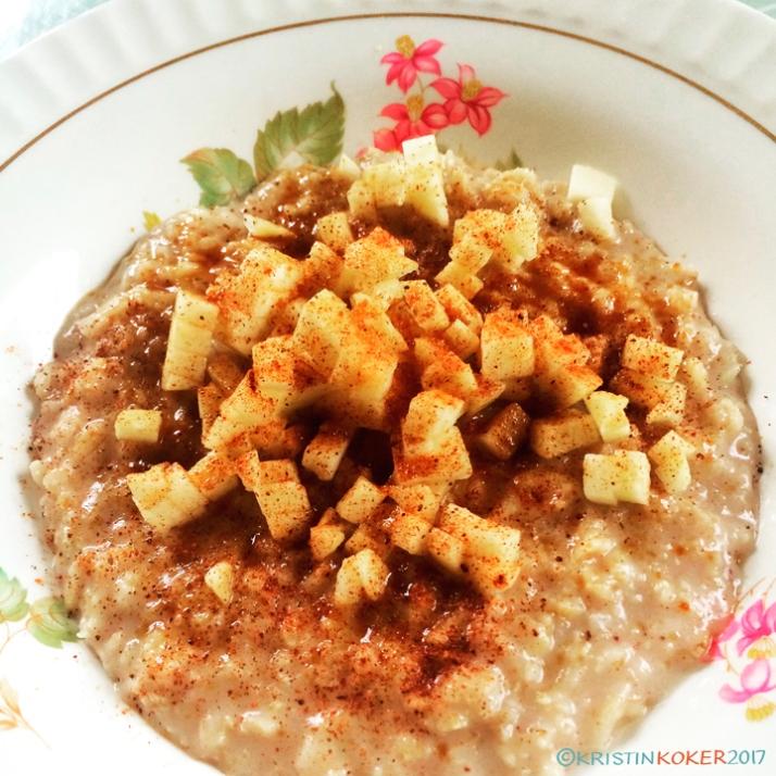 hirsegrøt, havregrøt, frokostgrøt med eple og kanel, kokosmelk, sunn grøt med kokosmelk og eple